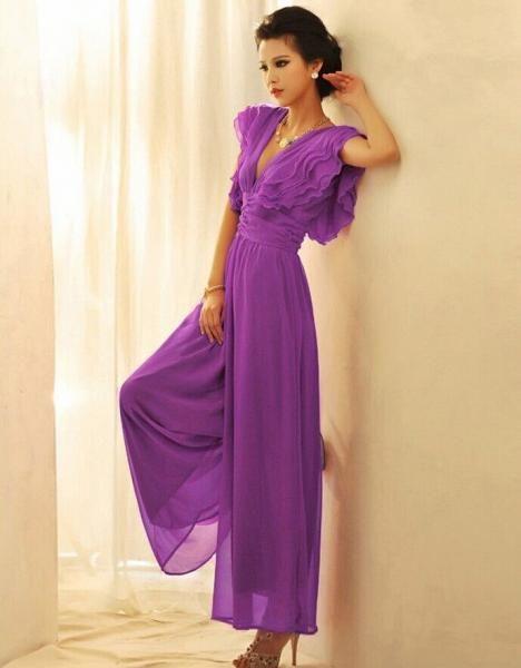f5762fdd891 Luxury Purple Color Ruffles High Waist Wide Leg Jumpsuit