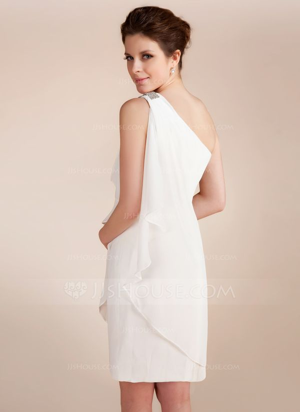 JJsHouse Sheath/Column One-Shoulder Short/Mini Chiffon Wedding Dress With Beading Cascading Ruffles