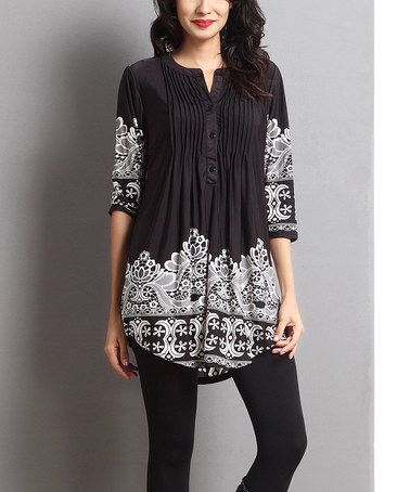 f705811f6fdc7a This Black Lace Print Notch Neck Tunic is perfect! #zulilyfinds ...