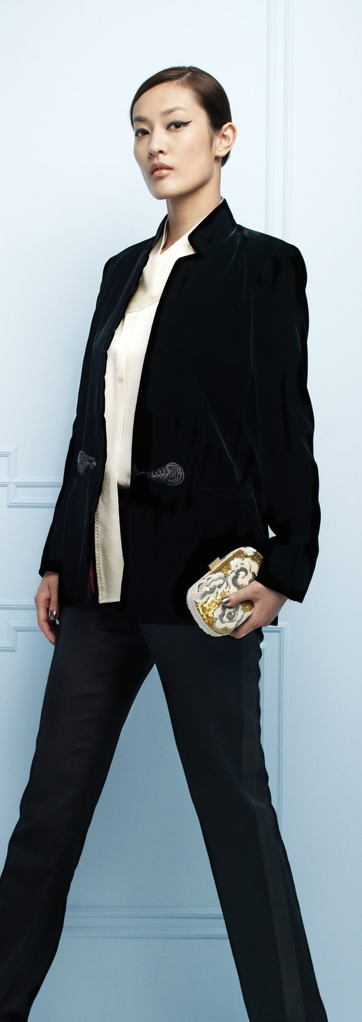 """b9c9832ae224aa Rayon-Velvet Jacket with Chinese Knot Closure / Silk Hammer Satin Long  Sleeves Tie Blouse / Wool Blend Tuxedo Trousers / Beaded """"Cloud"""" Clutch"""