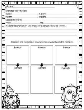 monster for a persuasive writing project  students will write a persuasive essay and put the essay in a lapbook to present their monster