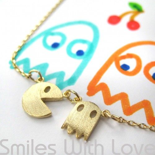 $12.50 Pac Man Necklace in Light Gold - Gold Plated Brass Allergy Free