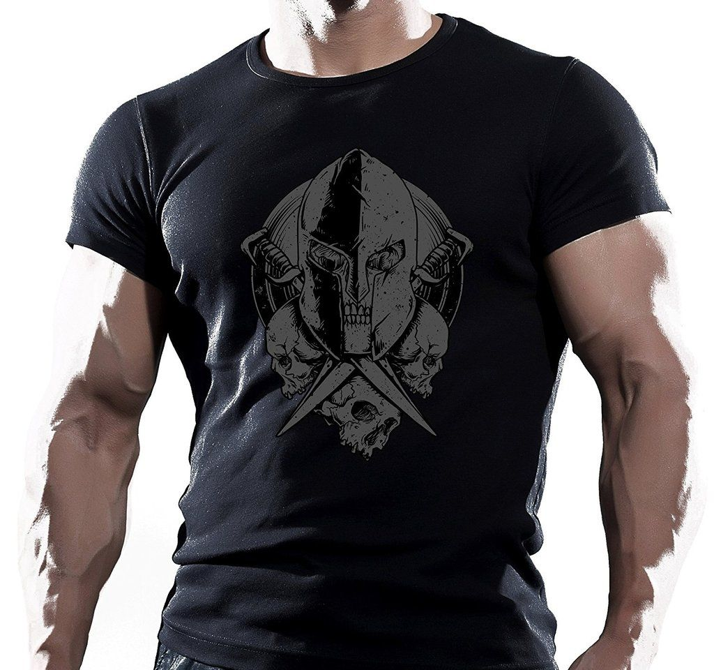 Spartan Helmet T Shirt Pocket Gym Bodybuilding Fitness MMA Workout Kids Tee Top