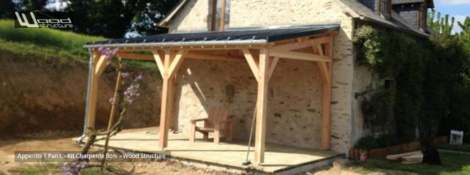Charpente appentis bois grange garage abris carport extension bois wood