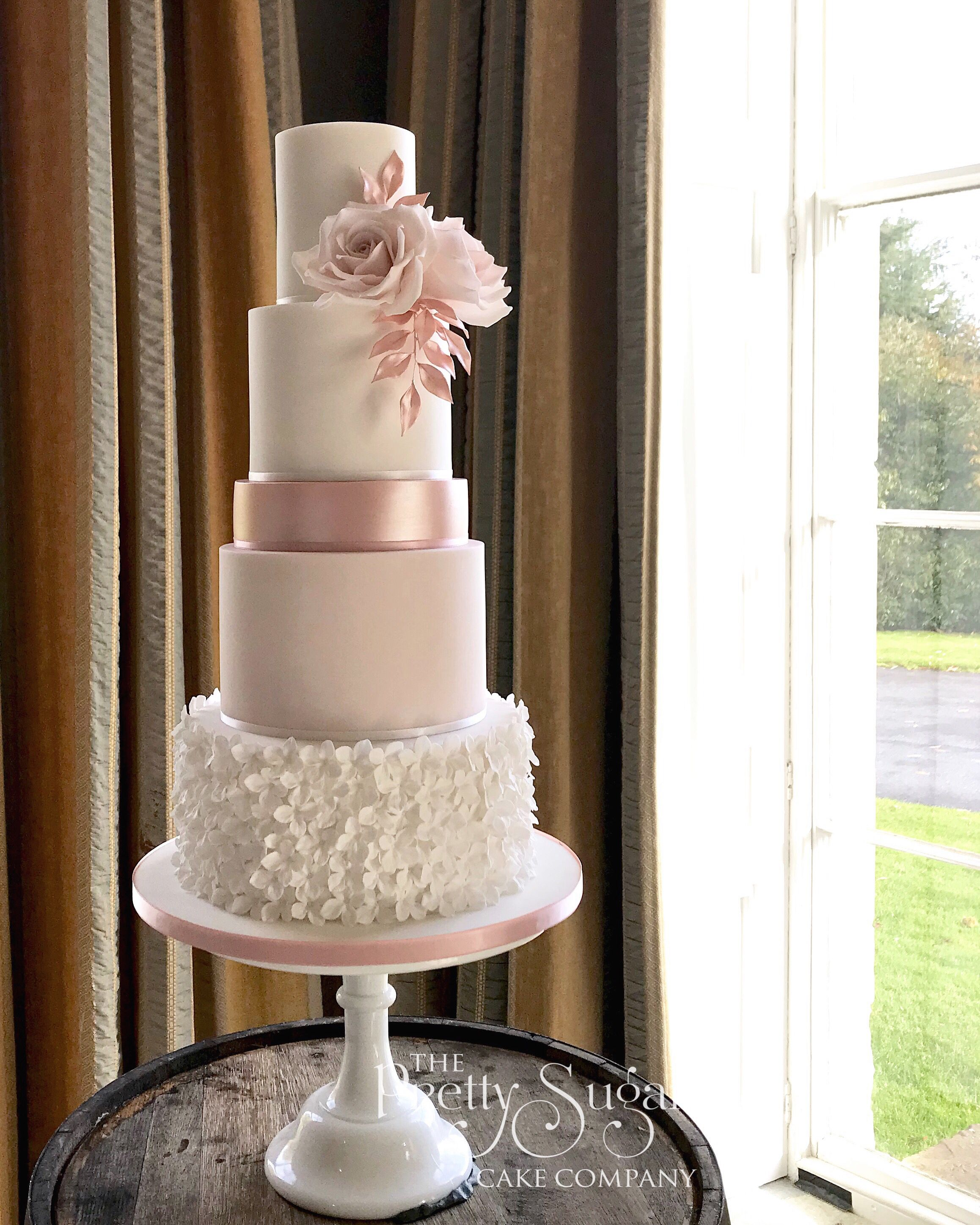 Rose gold, blush pink wedding cake Blush pink wedding
