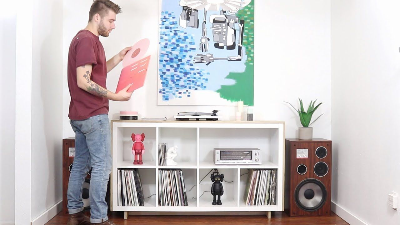Ikea Expedit Youtube Diy Media Record Console Ikea Hack Kallax Bookcase Youtube