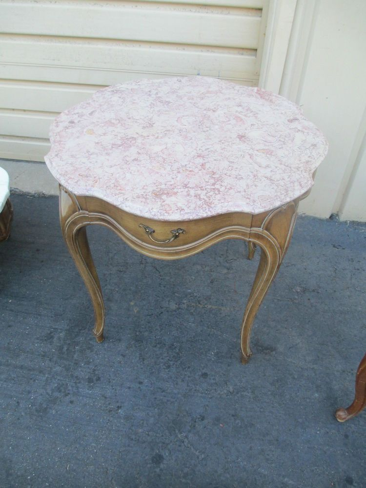 52346 WEIMAN ROUND MARBLE TOP LAMP TABLE WITH DRAWER  #FrenchCountryProvincial #WEIMAN - 52346 Weiman Round Marble Top Lamp Table With Drawer Hollywood