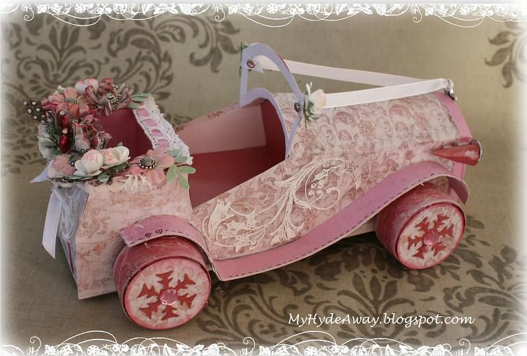My Craft and Garden Tales: A different Shabby chic/vintage wedding car(d) - with rubber band engine!