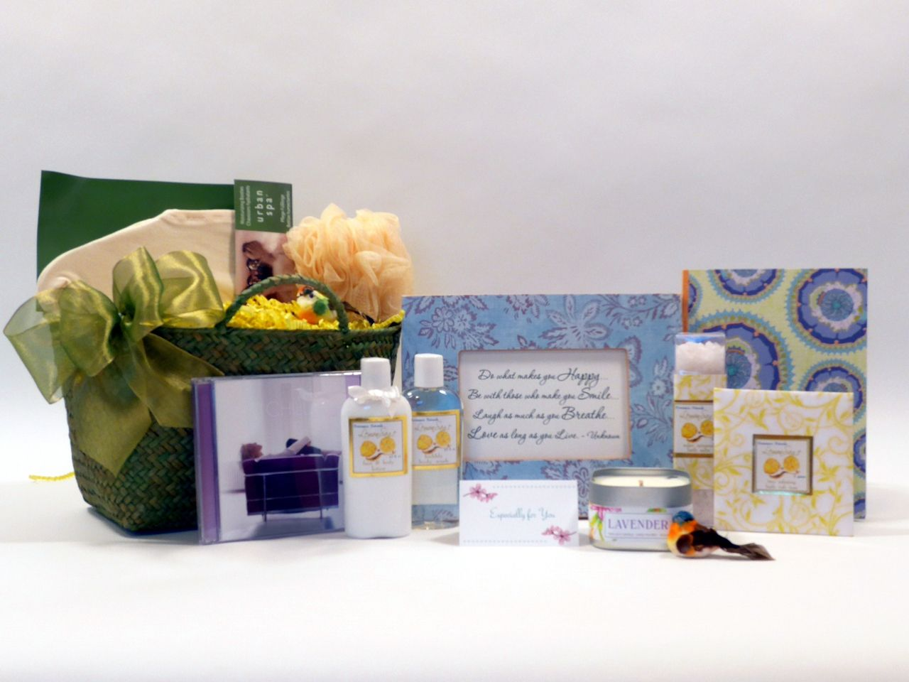 New item added to our spa collection - now on sale 20% off(http://www.thoughtfulpresence.com/spa-gift-basket-indulge-and-inspire/)
