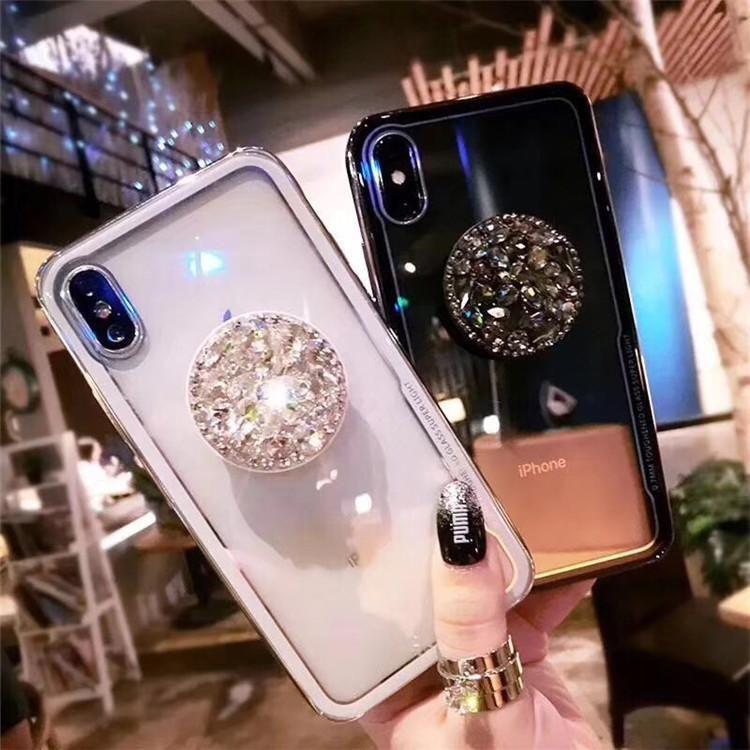 959b67acfff 2018 New Fashion Mirror Flash Diamond Airbag Bracket Mobile Phone Case For  iPhone
