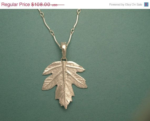 Real Leaf Necklace Fabulous SILVER Maple Leaf Pendant Natures Leaves