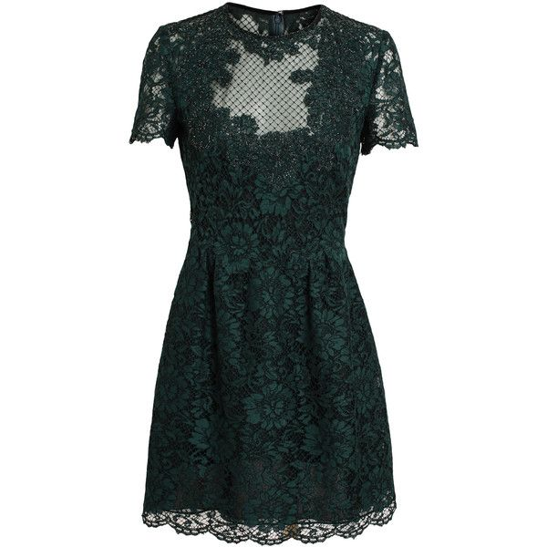 VALENTINO Embellished Lace Dress (€2.115) ❤ liked on Polyvore featuring dresses, vestidos, valentino, short dresses, short lace cocktail dress, lace mini dress, mini dress, lace cocktail dress and scalloped lace dress