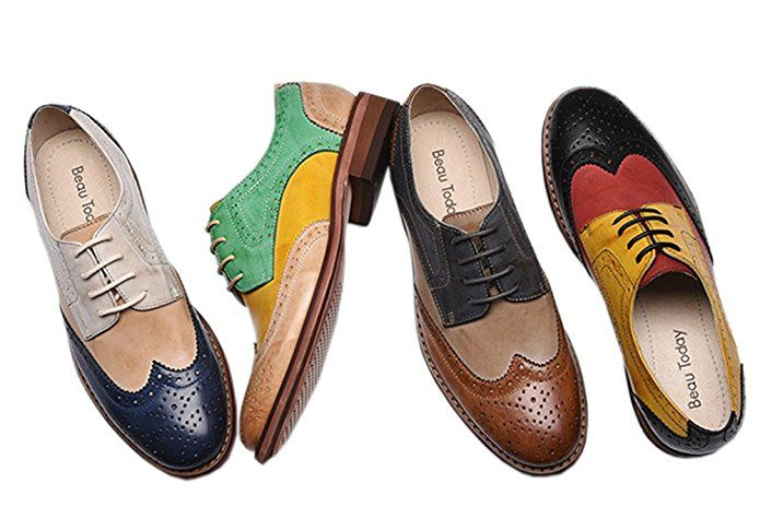 6a753fac3d Amazon.com | U-lite Women's Perforated Lace-up Wingtip multicolor Leather  Flat Oxfords Vintage Oxford Shoes | Oxfords