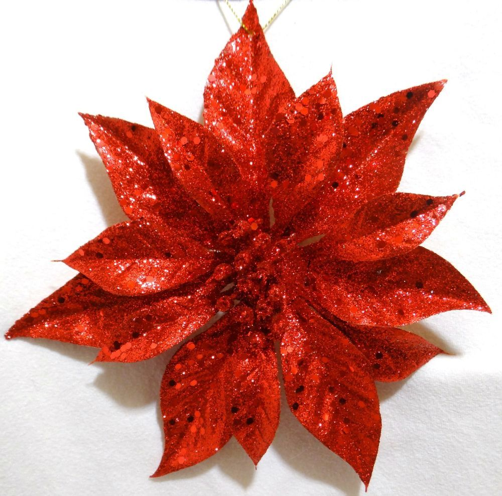 8 Large Red Glitter Poinsettia Flower Clip On Hanging Christmas Decoration New Wonderful Things Decor Crafts Crafts For Kids