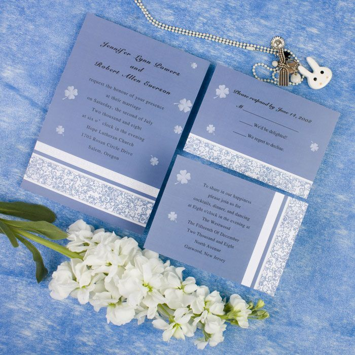 This color might be close, it even has small shamrocks on the paper :) Not even sure what style/theme you're going for yet   Ornate blue floral wedding invitations EWI236