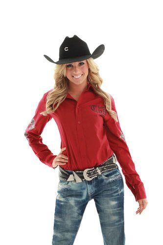 Cowgirl Tuff Western Shirt Womens L S Cross Crystal Red F00131