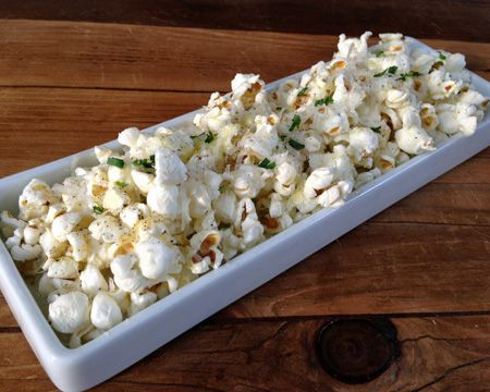 Bacon Fat, Truffle Oil, Chives, and Parmesan Cheese Popcorn