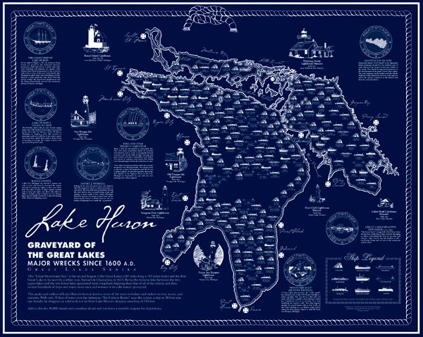 Lake Huron Shipwreck Poster | Lake huron, Great lakes ... on map of the arctic, map of the staten island ferry, map of the new jersey, map of the weather, map of the great lakes ports, map of the hurricane, map of the north carolina,