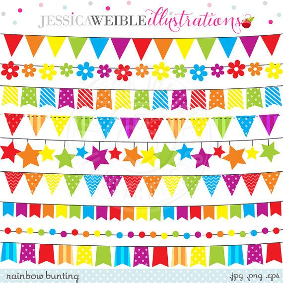Pink rainbow bunting cute digital clipart for commercial or personal use flag banner clipart rainbow clipart rainbow flag bunting