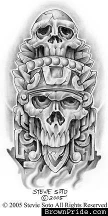 068eb21a292f8 skull 1 Arte Chicano, Aztec Designs, Cross Designs, Pride Tattoo, Aztec  Warrior