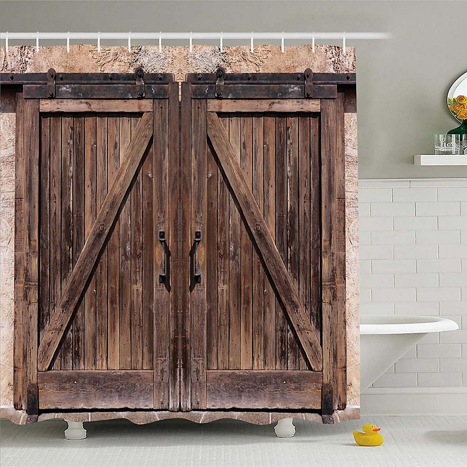Ambesonne Rustic 84 Shower Curtain In Beige Brown In 2020 Rustic Shower Curtains Rustic Doors Barn Door Decor