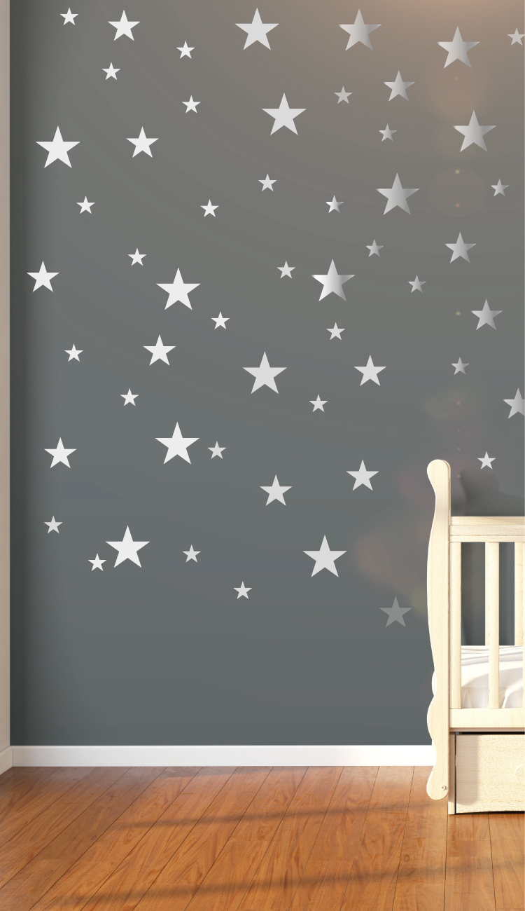 Nursery Wall Decals Stickers 120 Silver Metallic