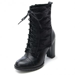 1bbd46f83d04 http   what-is-fashion.com 1425-9752-. Rock N RollBoots WomenTwo TonesChunky  HeelsAnkle BootsPunkZipMilitaryThick Heels