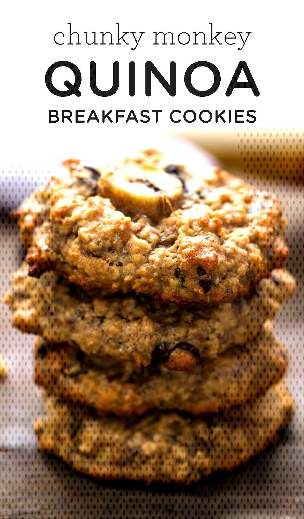 Chunky Monkey Quinoa Breakfast Cookies taste like dessert, but are healthy enough for breakfast! Fl