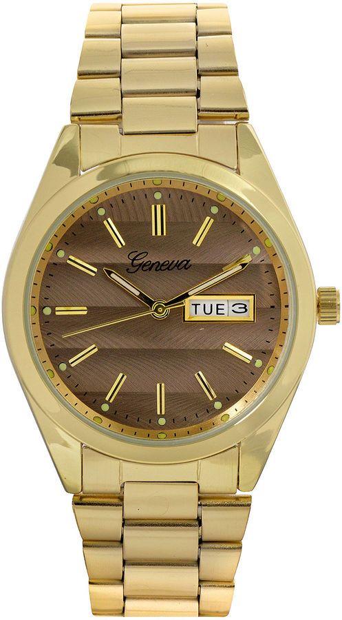 GENEVA Geneva Womens Gray Dial Gold-Tone Strap Bracelet Watch