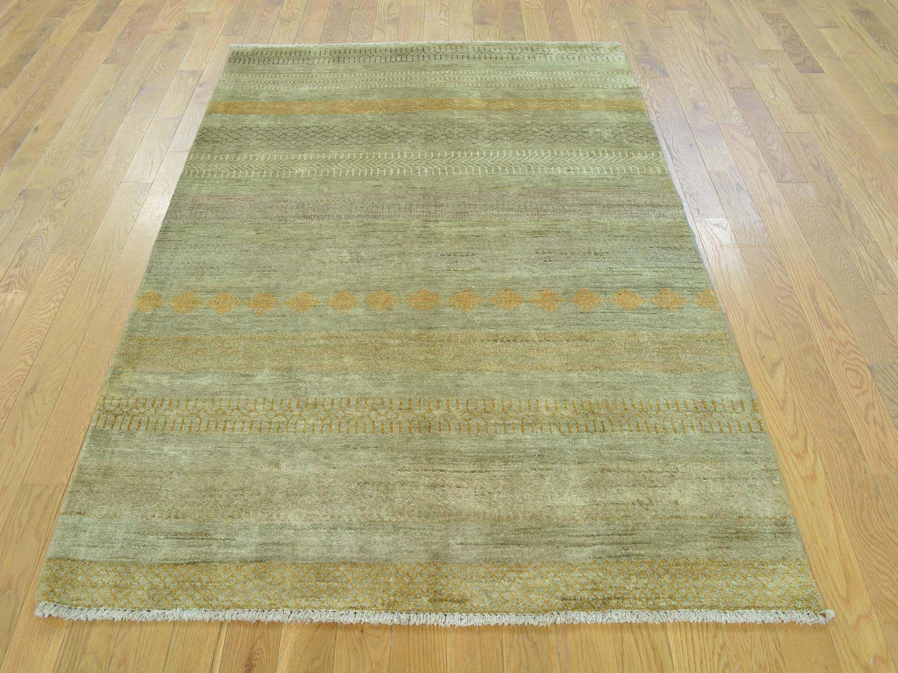 4 X6 3 Hand Knotted Beige Modern Gabbeh Pure Wool Oriental Rug