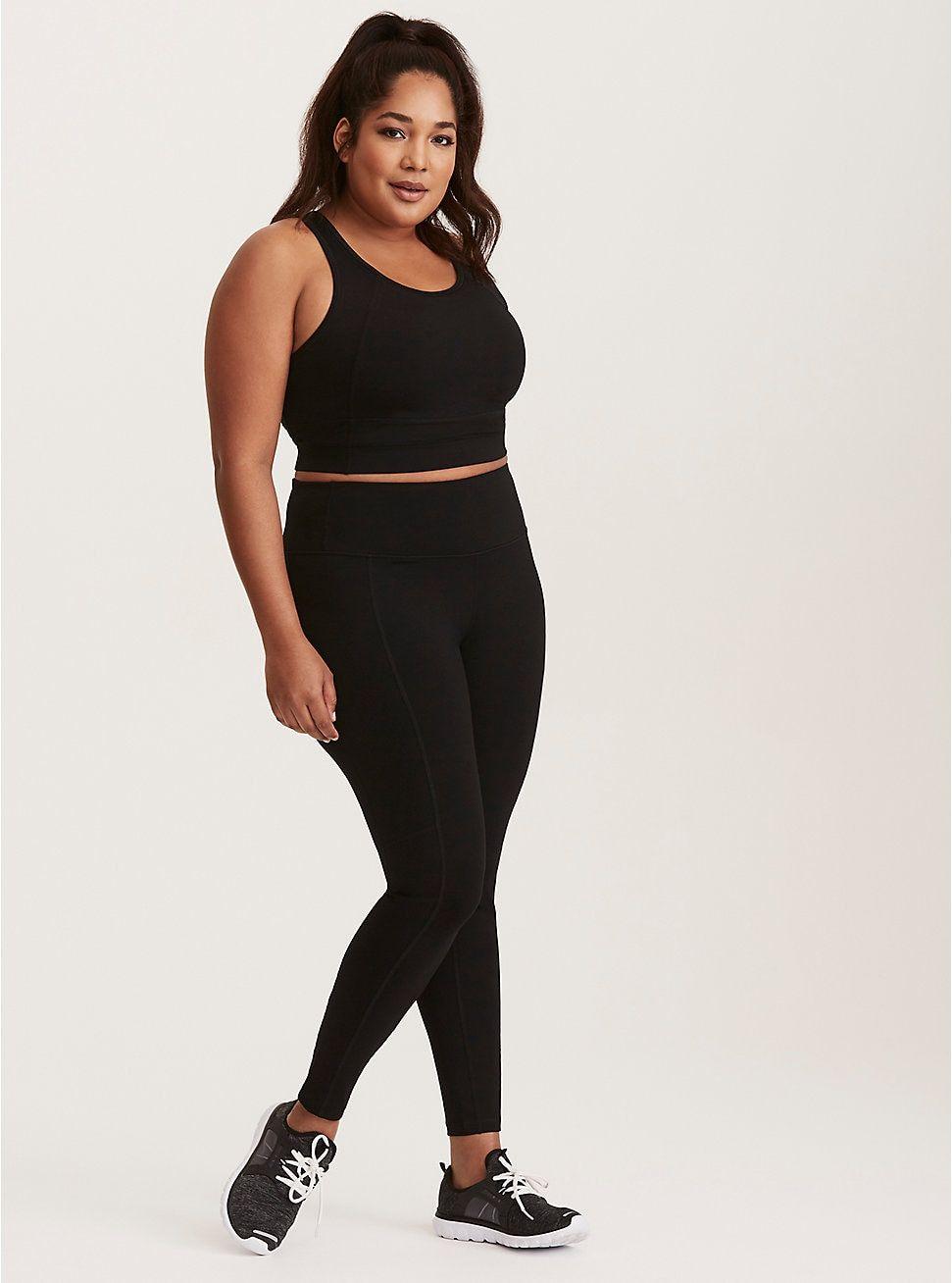 Black Longline Wicking Sports Bra Plus size sports bras