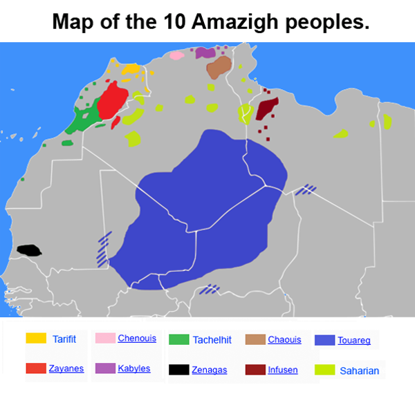 Carte Du Monde Kabylie.Map Of The 10 Amazigh Peoples Tarifit Chenouis Tachelhit