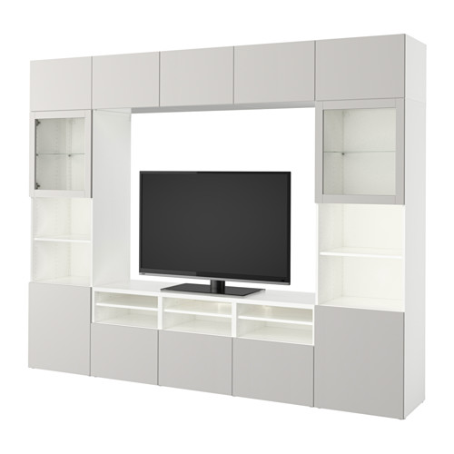 BESTÅ TV storage combination/glass doors White/lappviken light grey - Wohnzimmer Ikea Besta