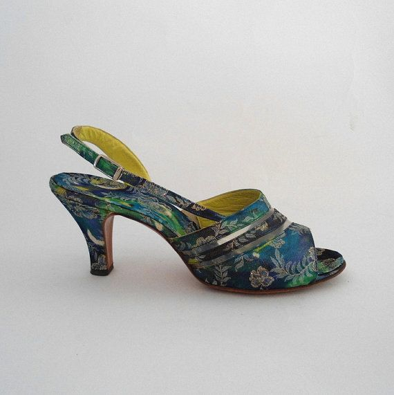 Vintage 1950s Shoes 50s Open Toe Slingbacks By Bubblegummeow 38 00