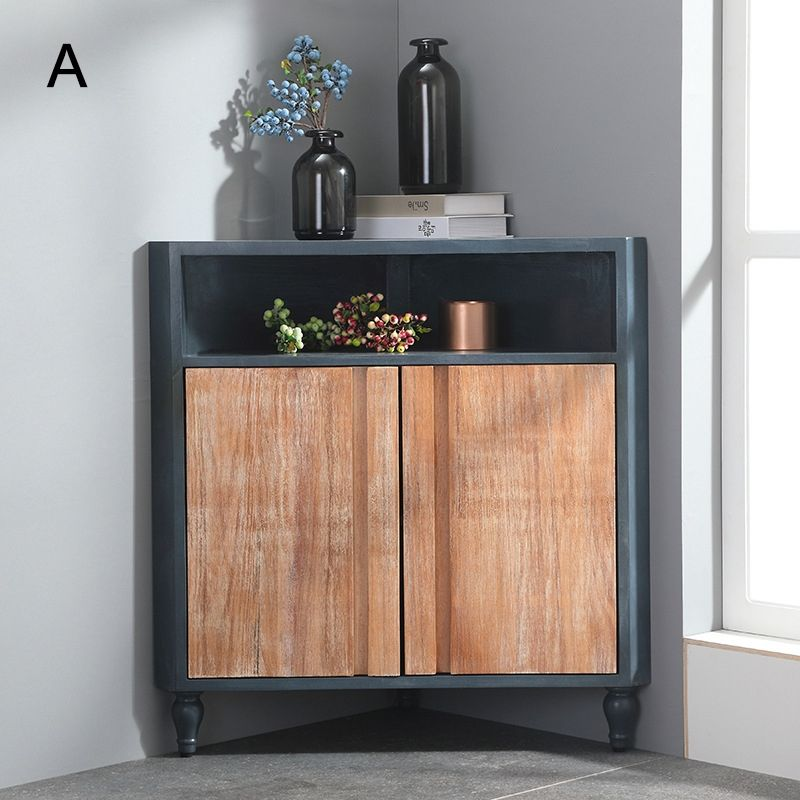Modern Corner Cabinet Blue Accent Cabinet Triangle Rustic 2 Doors Cabinet With Shelf Drawer In 2020 Corner Storage Cabinet Corner Cabinet Dining Room Corner #small #corner #cabinet #for #living #room
