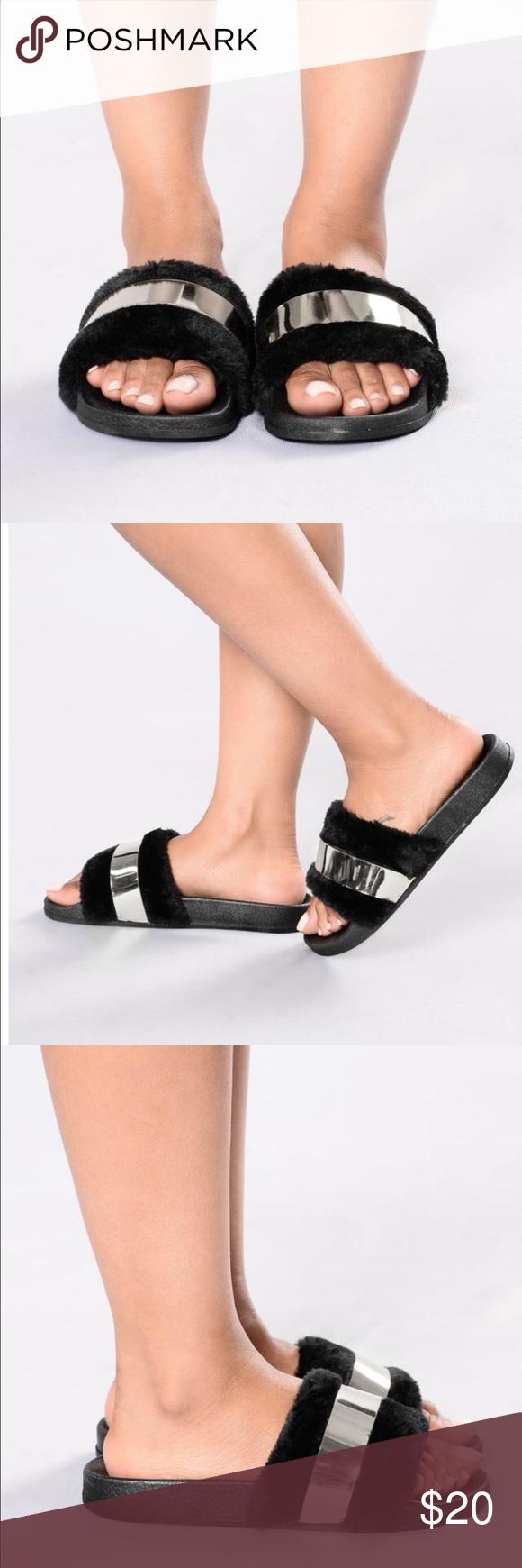 70684473fb6 Fashion Nova black and silver fur slides. Brand new