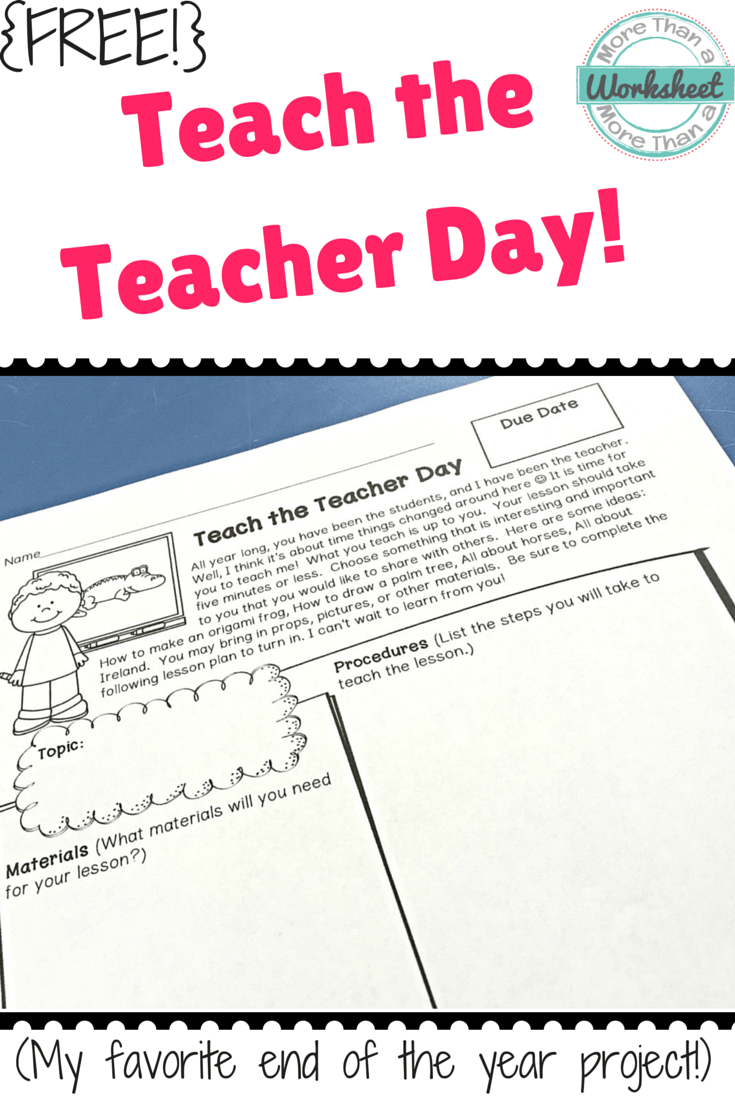 End Of The Year Teach The Teacher Day More Than A Worksheet Teaching Teachers Teaching End Of School Year