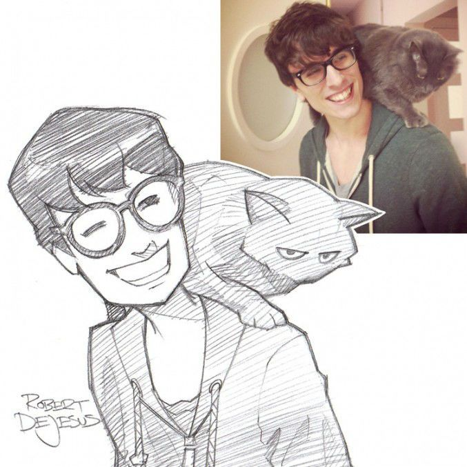 Real People Turned Into Anime Characters Photo To Cartoon Cartoon Drawings Cartoon Sketches
