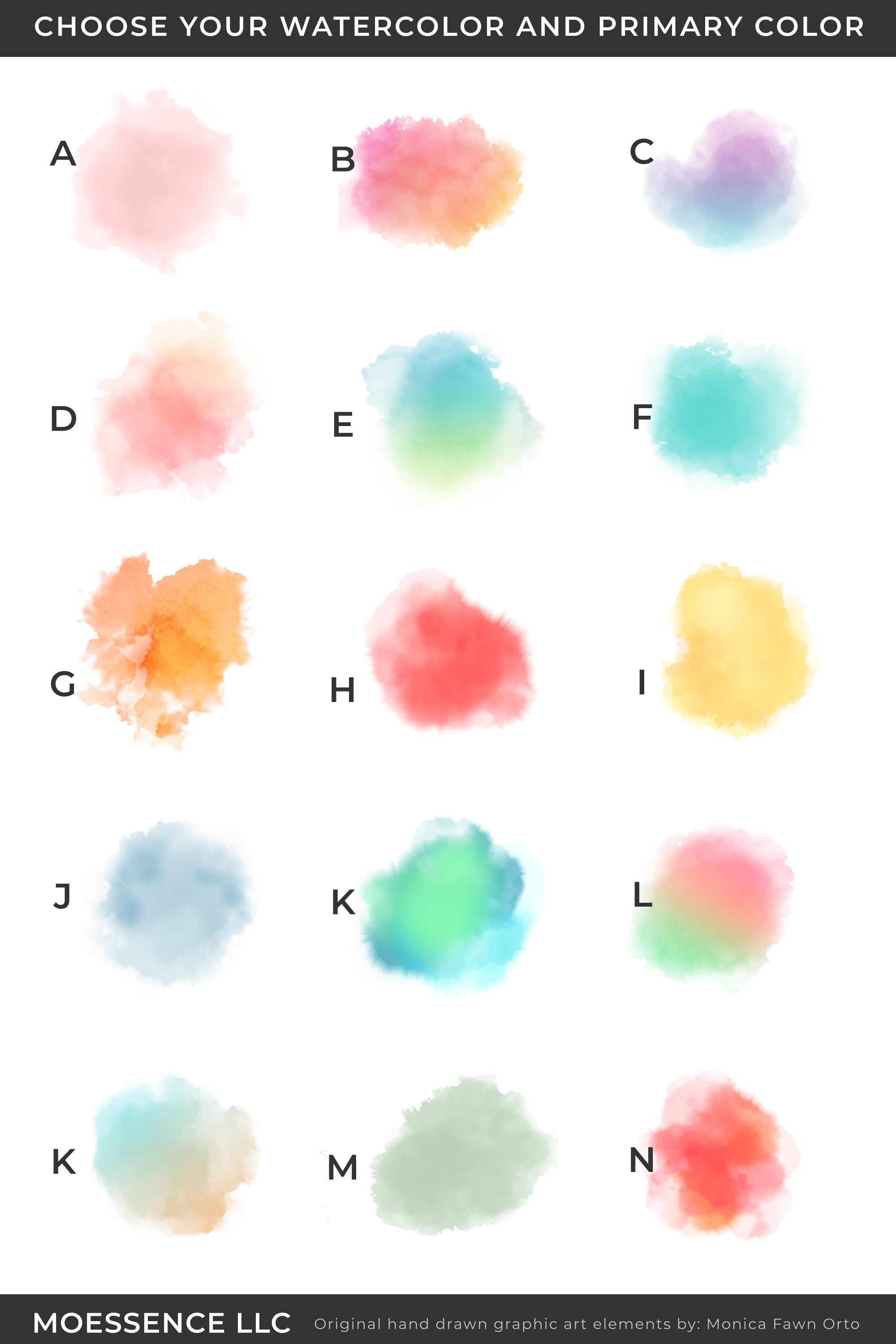Choose Your Watercolor And Primary Color For Your Logo Design