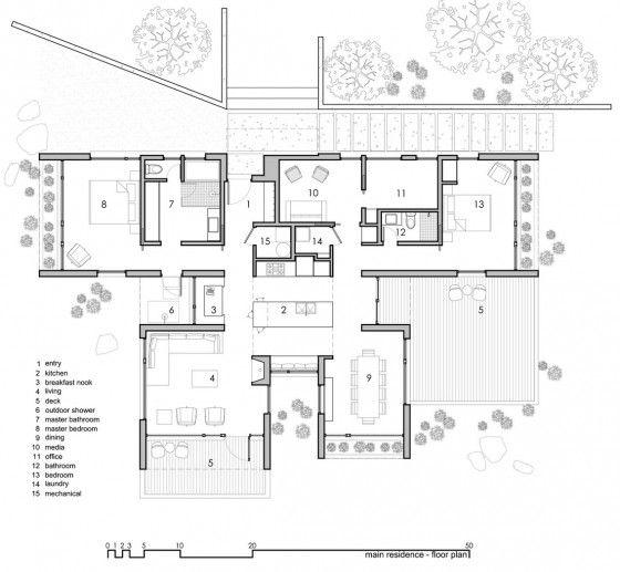 Plano de casa de campo fachada de un piso grande for Planos de casas de campo de un piso