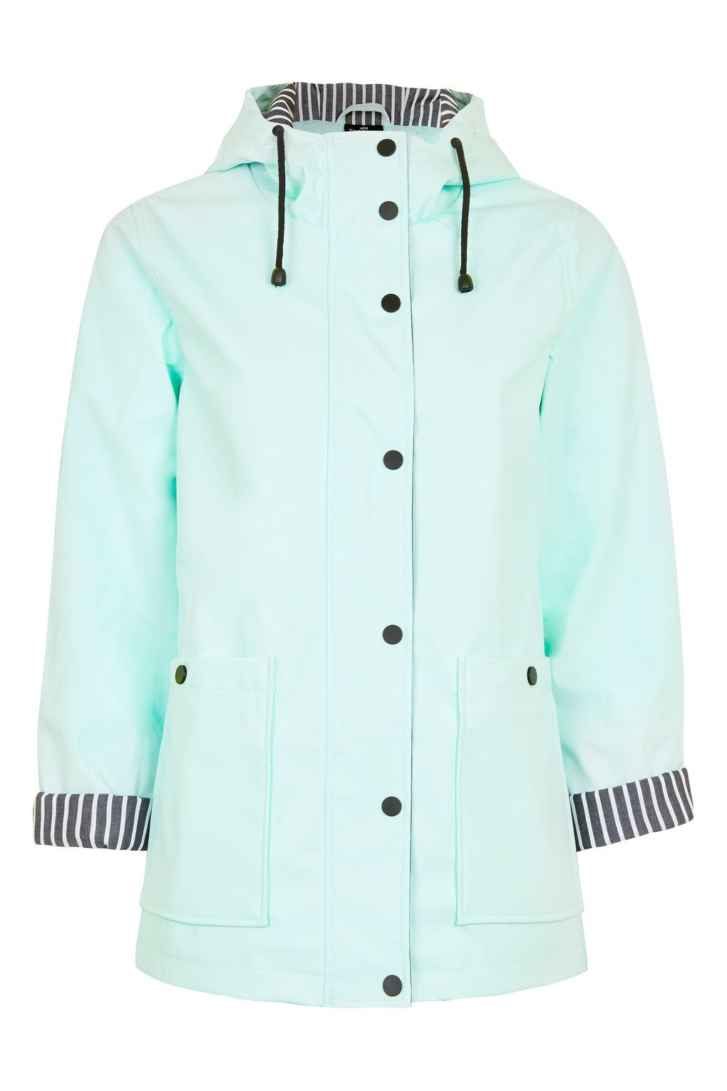 New Womens PU Rubber Hooded Festival Raincoat Mac with Drawcord Ladies Jacket