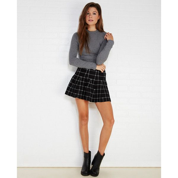 Hesperus, Inc.  Grid Print Sweater Knit Skater Skirt ($17) ❤ liked on Polyvore featuring skirts, wet seal, skater skirt, knit skirt, stretch knit skirt, pattern skirt and circle skirt