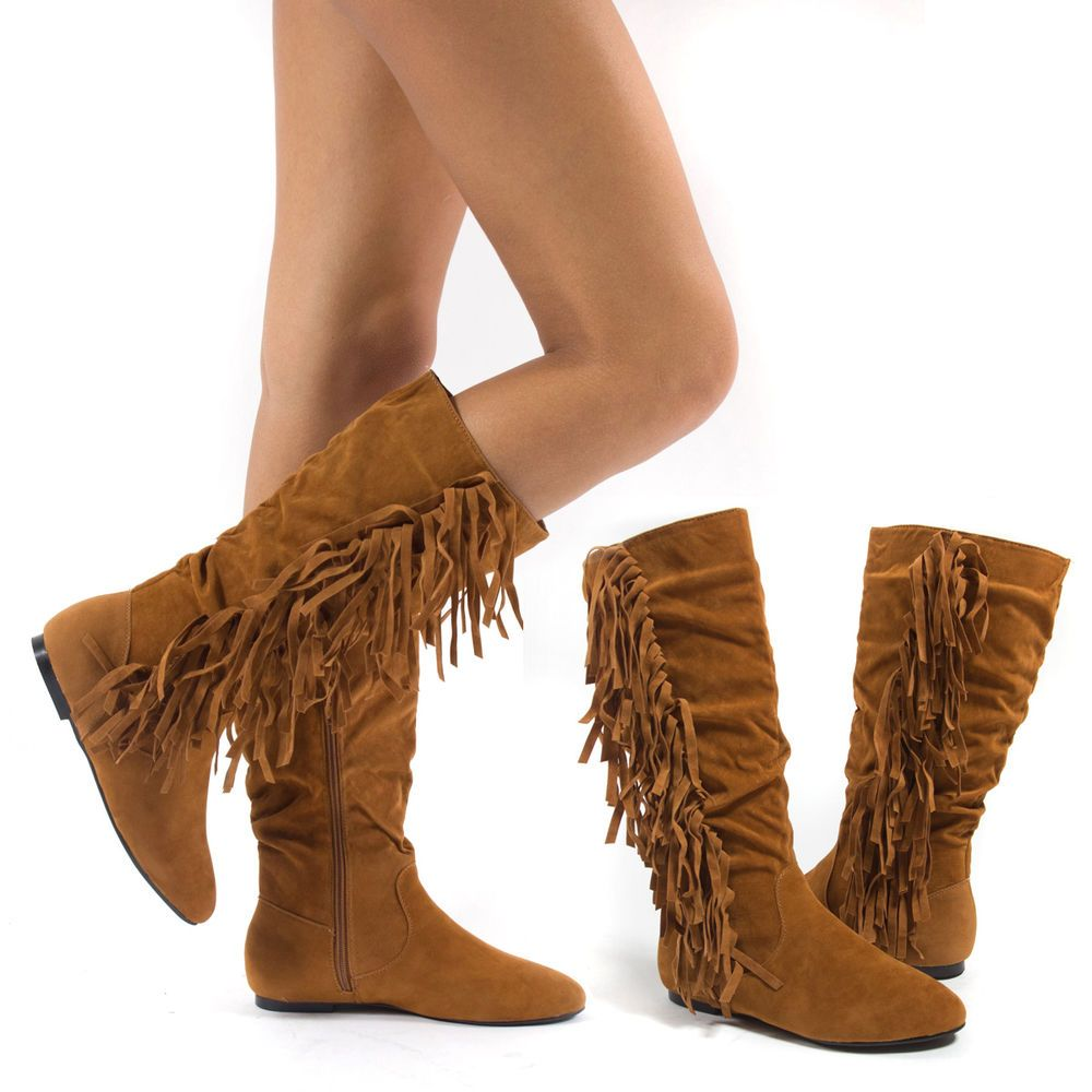 Women Tan Faux Suede Round Toe Fringe Moccasin Mid Calf Knee High Flat Boot 7 #FashionMidCalf