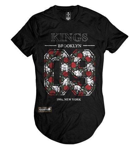 204d5a61f0015 Camiseta long line oversized kings of new york floral Gamer 33 ...