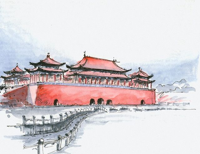 Beijing Forbidden City City Drawing Forbidden City City Sketch