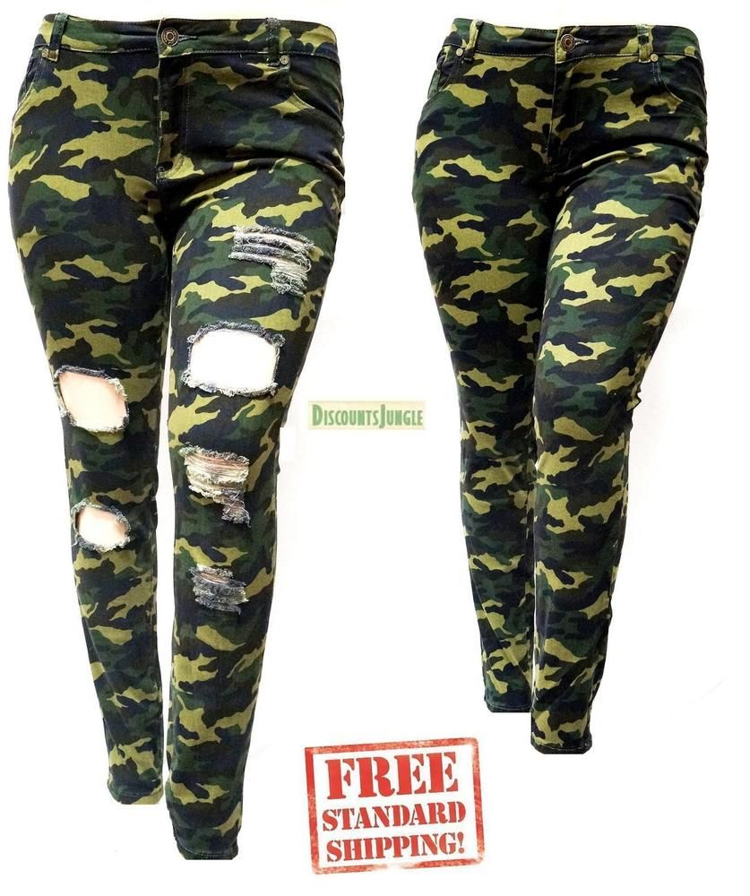 d0a48db94ad IQ Womens Plus Size Stretch Distressed Ripped Camo Camouflage Skinny Jeans  Pants