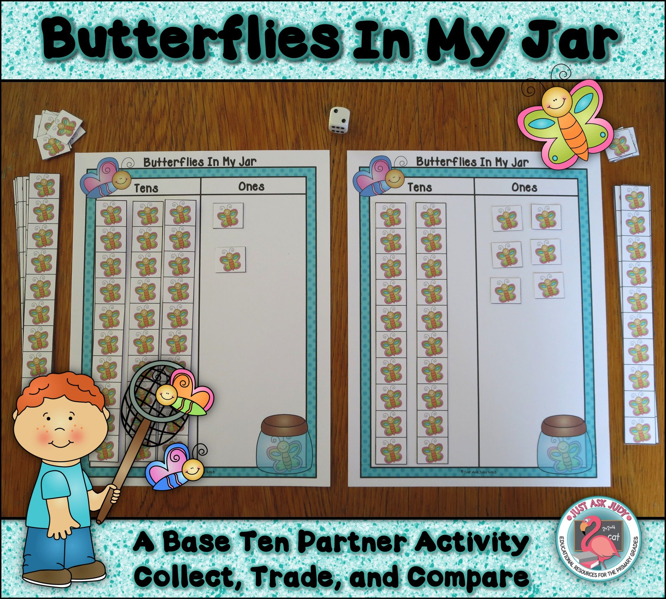 This butterfly themed partner activity reinforces understanding of base ten, trading ten ones for one ten, and comparing two digit numbers. It also includes additional recording sheets with expanded form, rounding to the nearest ten, and counting by tens off a decade number. $ Grades 1-2