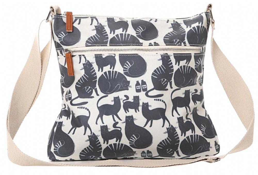 56e849eda2 Natural coloured crossbody across body shoulder bag with a dark grey blue  cat pattern by English Designer Lisa Buckridge Adjustable shoulder strap