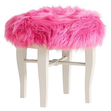 Glam Vanity Stool, Fur-rific White | Vanity stool, Stools and Vanities