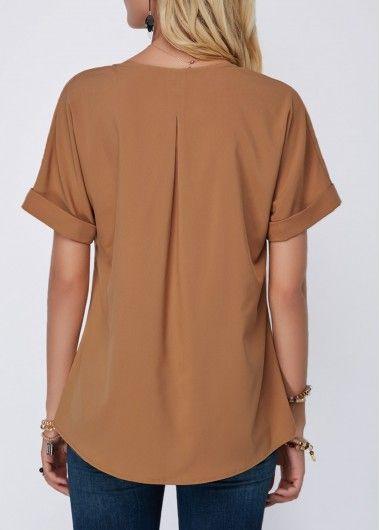 8d836af9fe000 Split Neck Dark Khaki Short Sleeve Blouse in 2018